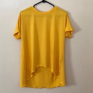 ROMWE Yellow High-Low Shirt